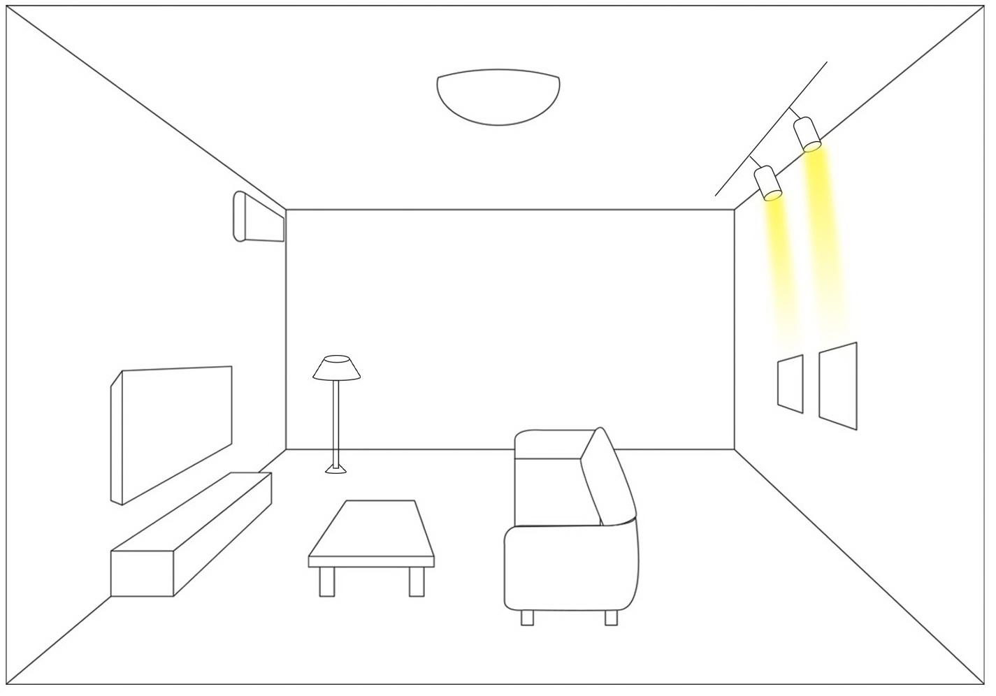 Chiếu sáng điểm phòng khách