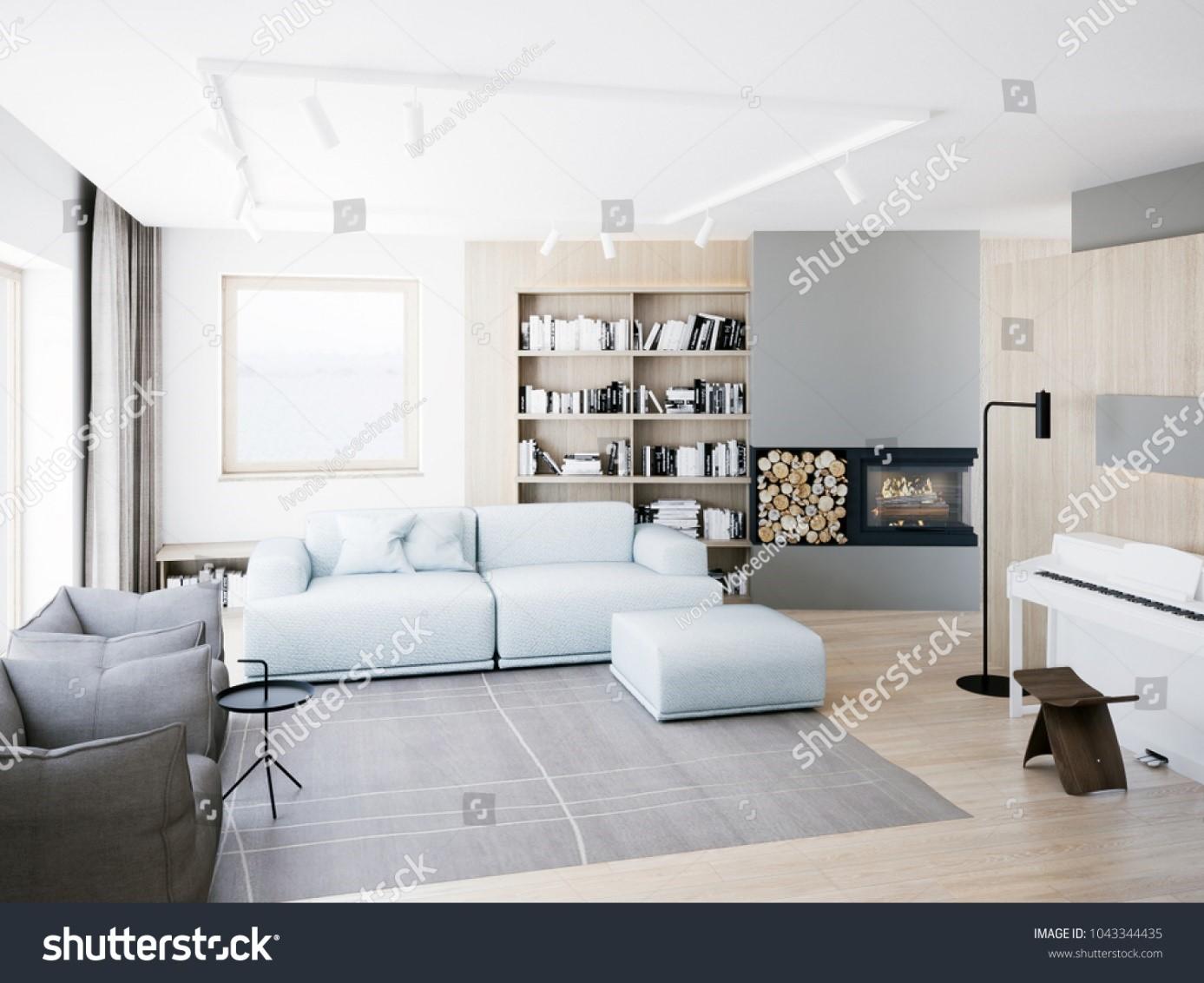 Representación de salón de estilo contemporáneo.