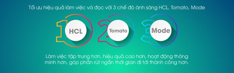 Đèn bàn 38 có 3 chế độ Mode, HCL và Tomato cho khách hàng lựa chọn