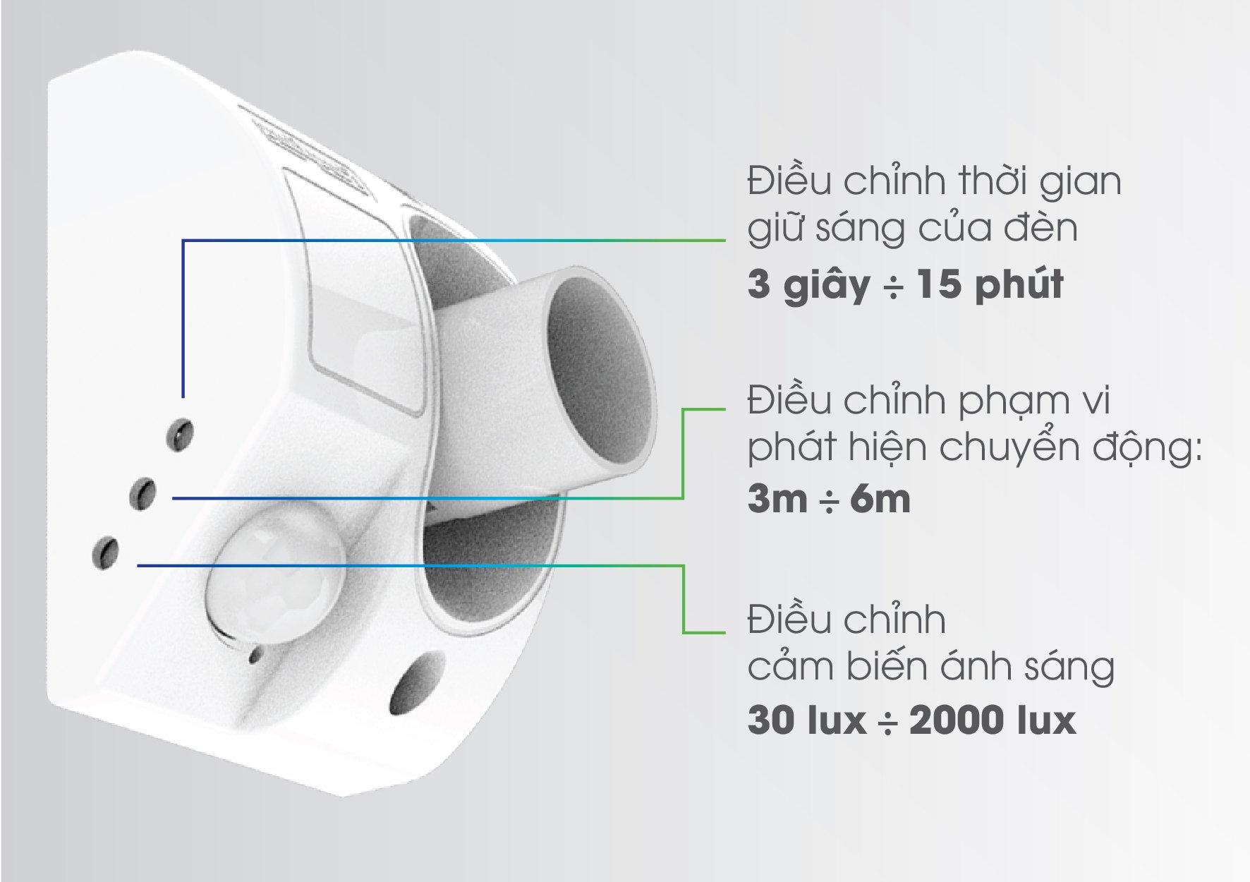 Đui đèn cảm biến Rạng Đông có 3 chế độ cài đặt