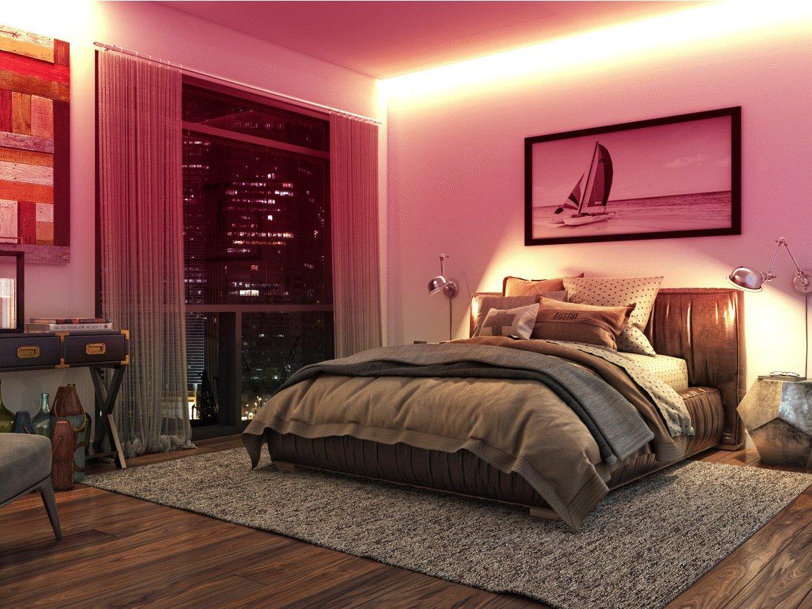 Đèn LED dây màu đỏ trang trí phòng ngủ