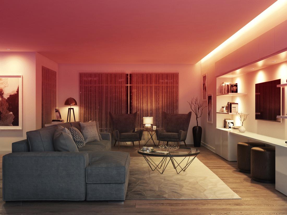 Đèn LED dây màu đỏ trang trí phòng khách